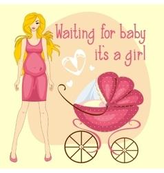 A pregnant woman waiting baby girl vector