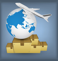 Airline transport globe box vector