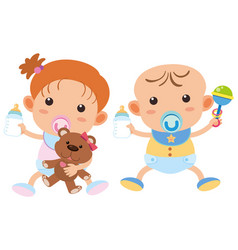 Baby boy and girl with milk bottles vector