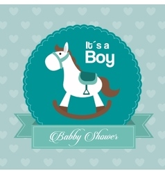 Baby shower design horse icon blue vector