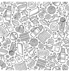 Cartoon cute hand drawn Picnic seamless pattern vector image