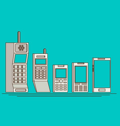 cell phone evolution flat vector image vector image