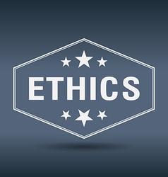 Ethics hexagonal white vintage retro style label vector