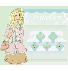 Girl and jewellerys vector image