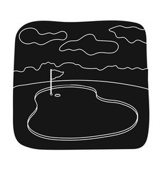 Golf coursegolf club single icon in black style vector