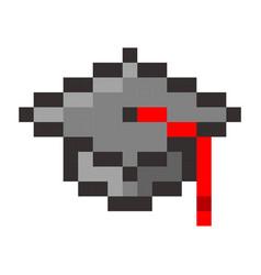 graduation cap pixel art cartoon retro game style vector image vector image