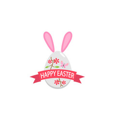 happy easter egg with ribbon bunny ears flat icon vector image vector image