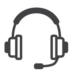 headphones line icon call center and website vector image
