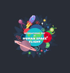 International day of human space flight vector