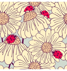 Ladybug and daisy seamless pattern vector image