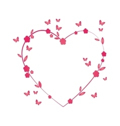 love heart floral butterfly flower pink vector image
