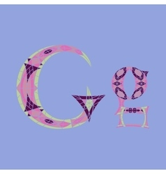 Low poly letter g in colored mosaic polygon vector