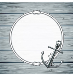 Nautical card with frame of the rope and anchor vector image vector image