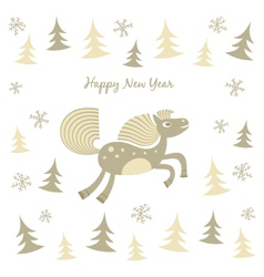 New year card with a running horse vector