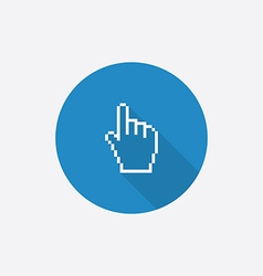 Pointer pixel cursor flat blue simple icon with vector