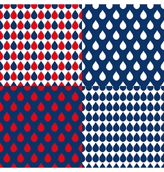 Set navy blue red water drops background vector
