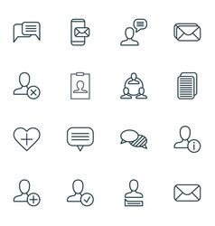 Set of 16 social network icons includes mailbox vector
