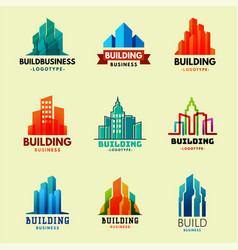 skyscrapers buildings label tower office city vector image