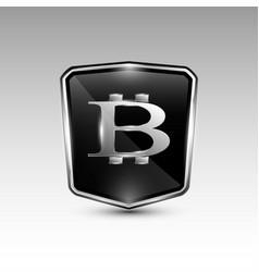 Stylish black bitcoin logo vector