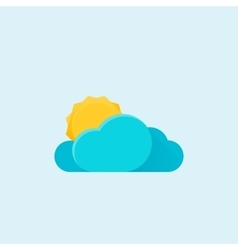 Sun and cloud weather Modern material design icon vector image