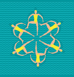 Synchronized swimming athletes vector