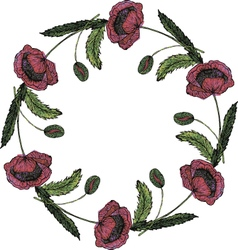 Watercolor beautiful poppy wreath vector