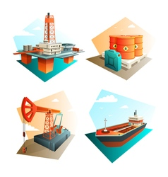 Petroleum oil industry 4 isometric icons vector