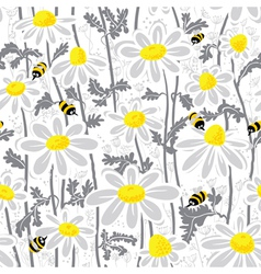 Bees and chamomile vector