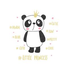Little panda princess vector