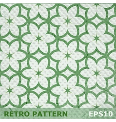 Green flowers seamless pattern on retro background vector