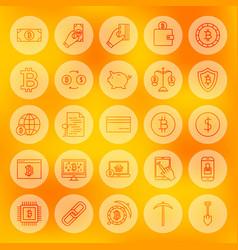 Line bitcoin web icons vector