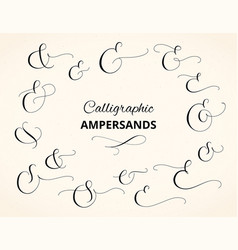 Set of custom decorative ampersands isolated on vector