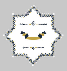 Navy blue and golden floral border blank emblem vector