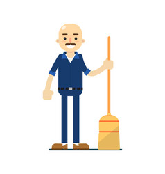 Cleaning man in uniform icon vector