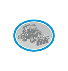 Snow Plow Truck Oval Retro vector image