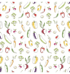 Seamless kitchen background of vegetables vector