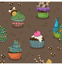 Sweet cupcake pattern vector