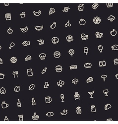 Dark tilted seamless pattern with light food icons vector