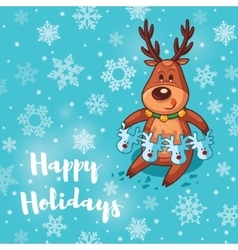 Happy holidays card with cute cartoon deer vector