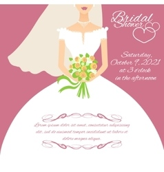 Invitation card with a young bride holding flowers vector