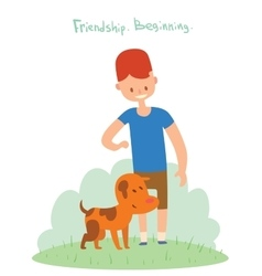 Boy and dog friends vector