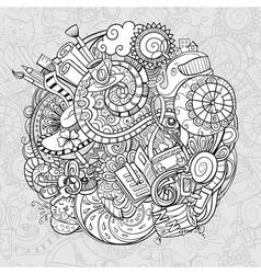 cartoon doodles morning routine vector image