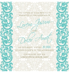 damask wedding invitation blue vector image