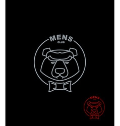 Bear mens club wild animal logo on a black vector