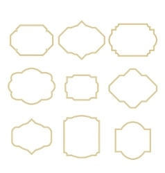 Gold border white empty frame set for cards vector