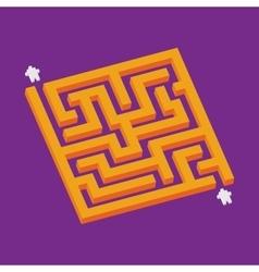 Isometric orange maze in pixel art style vector image