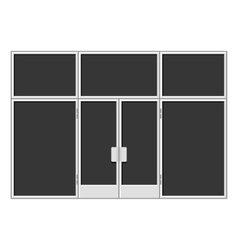 White shopfront with large black blank windows vector