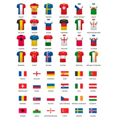 Collection of various soccer jerseys and flags of vector