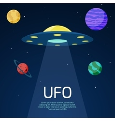 Abstract space background with ufo spaceship vector