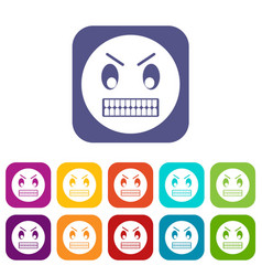 Angry emoticons set vector